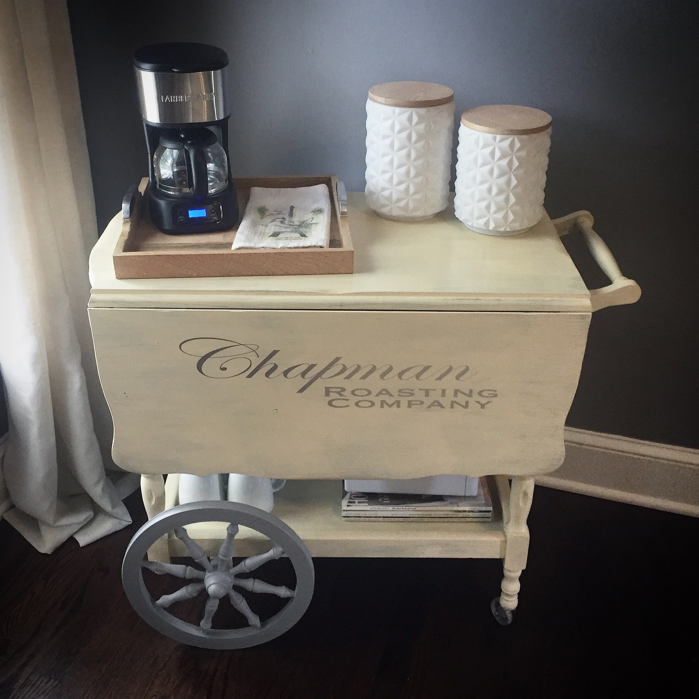 coffee cart makeover  humble home. i had been talking about wanting a coffee station in our master bedroom formonths we had been shopping around for the perfect piece of furniture