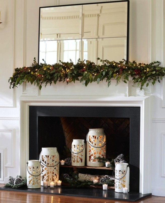 glass lanterns in fireplace